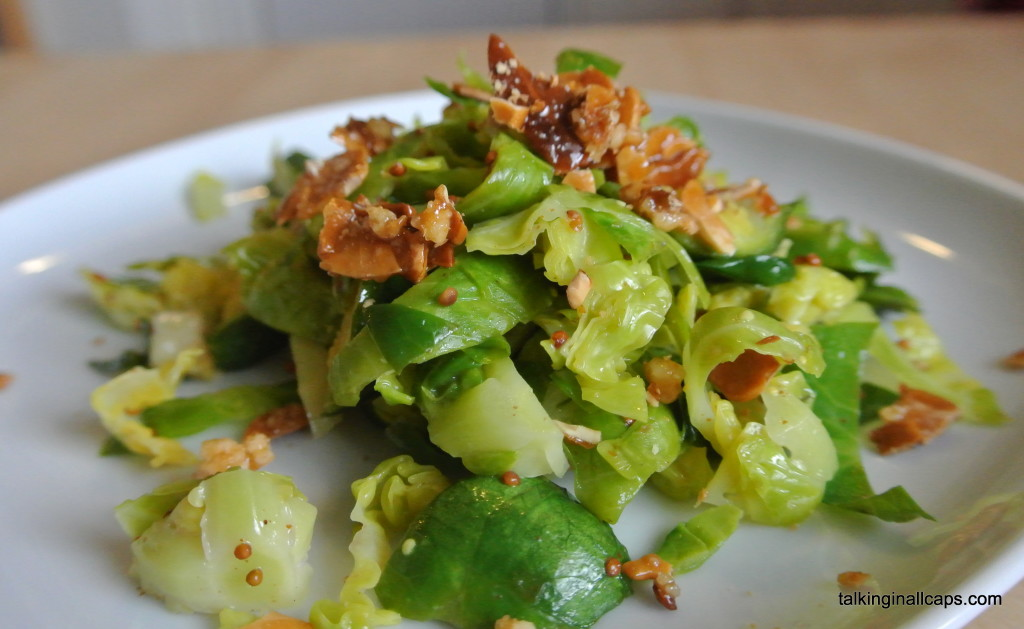 Brussels Sprout Coleslaw with Candied Nuts