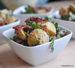 Bacon, Kale and Roasted Potato Salad with Tahini Dressing