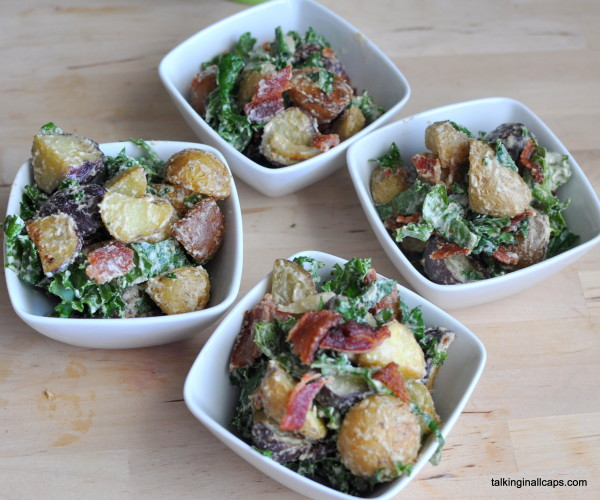 Bacon, Kale and Roasted Potato Salad with Tahini Dressing