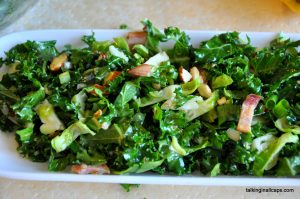 Raw Kale and Brussels Sprouts Slaw with Bacon