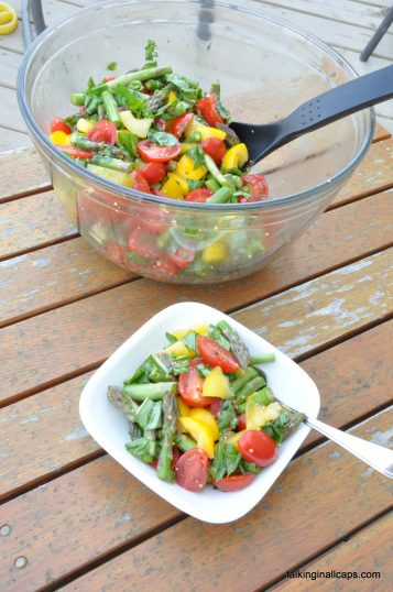 Raw Asparagus, Tomato and Basil Salad with a Grainy Mustard Dressing