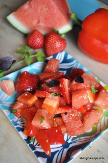 Watermelon Salad with a Sesame Ginger Dressing