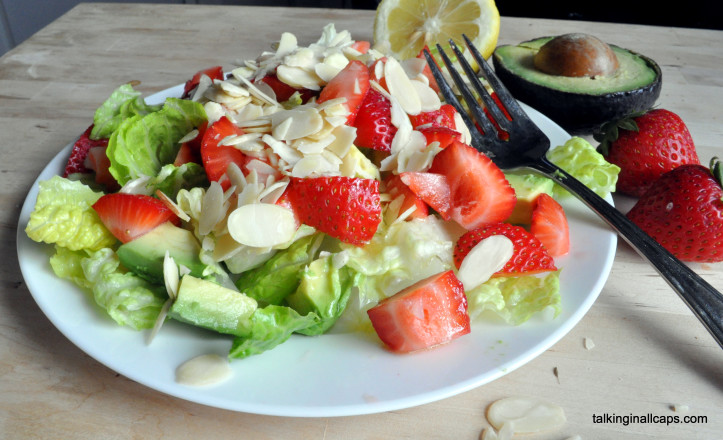 Strawberry Avocado Salad with Maple Dressing
