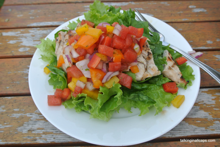 Watermelon Salsa over Grilled Chicken and Greens