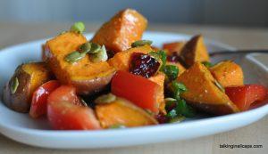 Roasted Sweet Potato and Cranberry Salad - talkinginallcaps.com