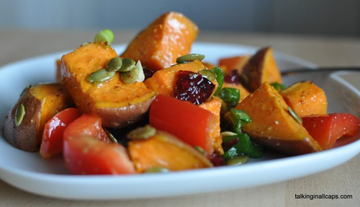 Roasted Sweet Potato and Cranberry Salad - talkinginallcaps.com