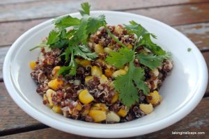 Mexican Street Corn Inspired Quinoa and Corn Salad -12 Great Salads to Take to a Potluck or Feed a Big Group - talkinginallcaps.com