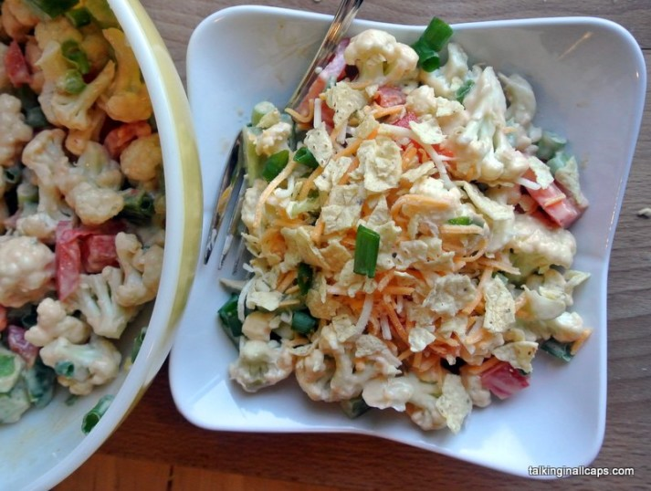 Retro Cauliflower Salad  -12 Great Salads to Take to a Potluck or Feed a Big Group