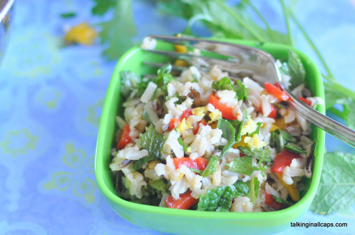 Rice Salad with Roasted Red Pepper and Herbs - 12 Great Salads to Take to a Potluck or Feed a Big Group - talkinginallcaps.com