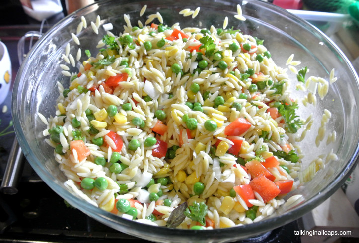 Orzo Salad - 12 Great Salads to Take to a Potluck or Feed a Big Group - talkinginallcaps.com