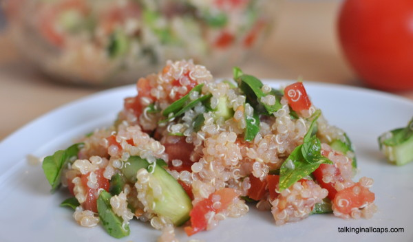 Quinoa Tabbouleh Salad  - 12 Great Salads to Take to a Potluck or Feed a Big Group - talkinginallcaps.com